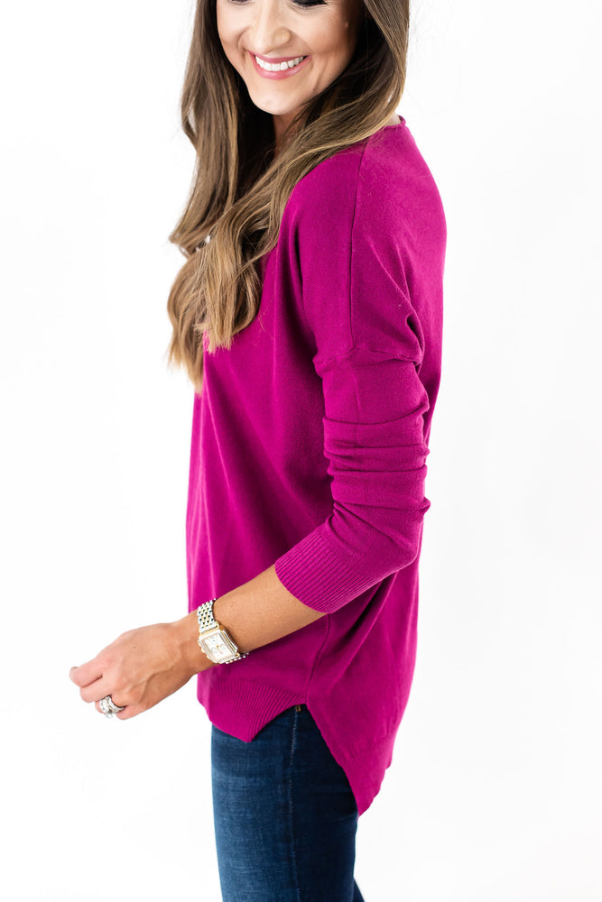 Pink Super Soft Hi Low Tunic Sweater