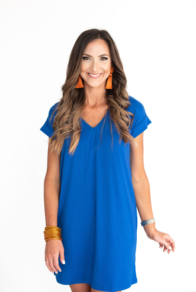 Blue V-Neck Knit Dress