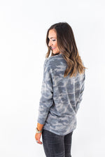 Brushed Camo Mock Neck Top