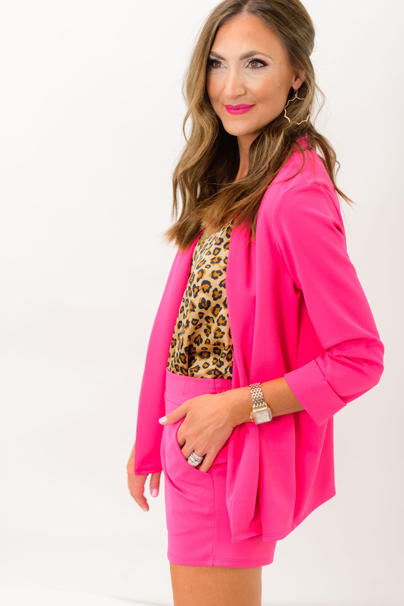 Hot Pink Blazer and Shorts Set