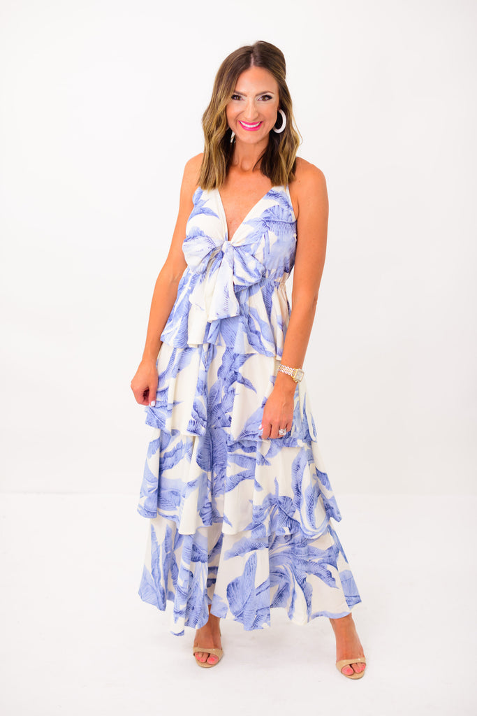 Dusty Blue Palm Print Tiered Maxi Dress