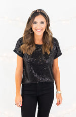 Black Short Sleeve Sequin Tee