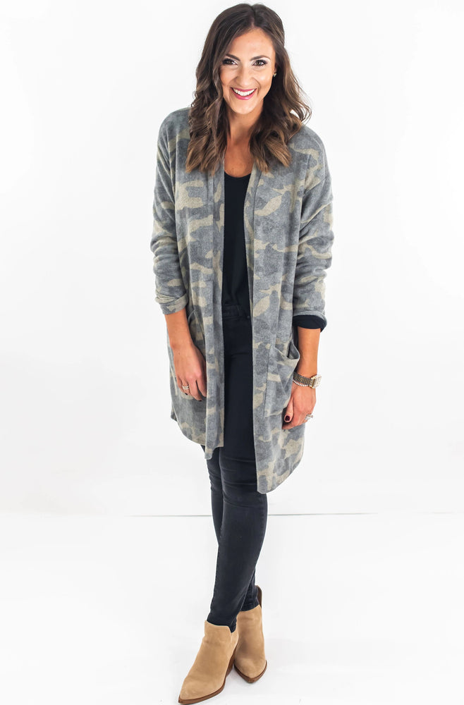 Camo Brushed Knit Open Cardigan