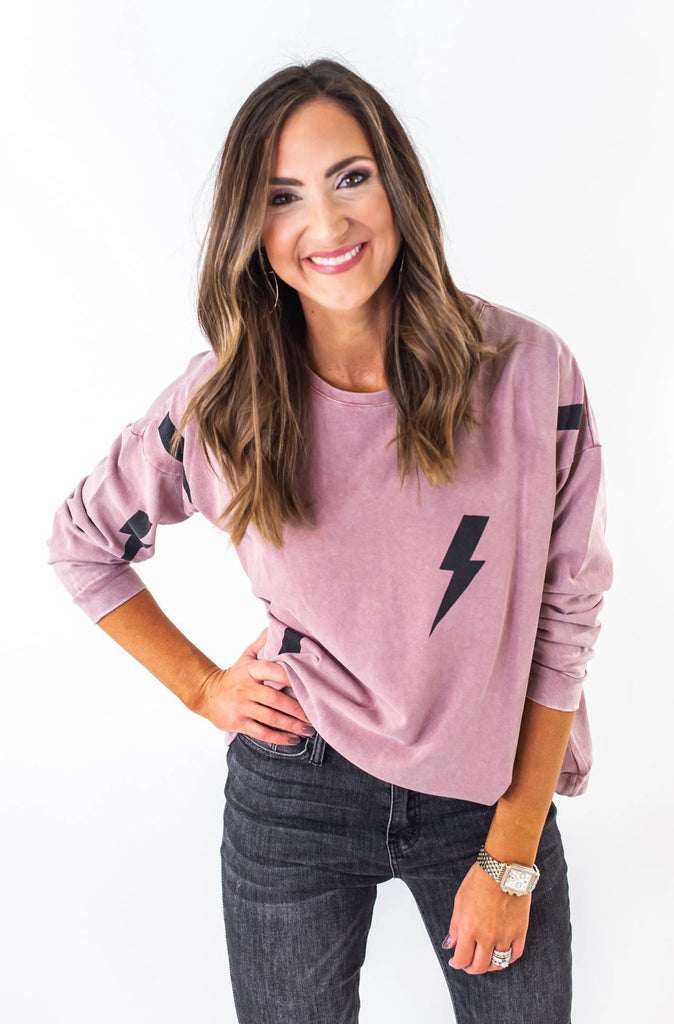 Faded Mauve Terry Knit Lightning Bolt Top