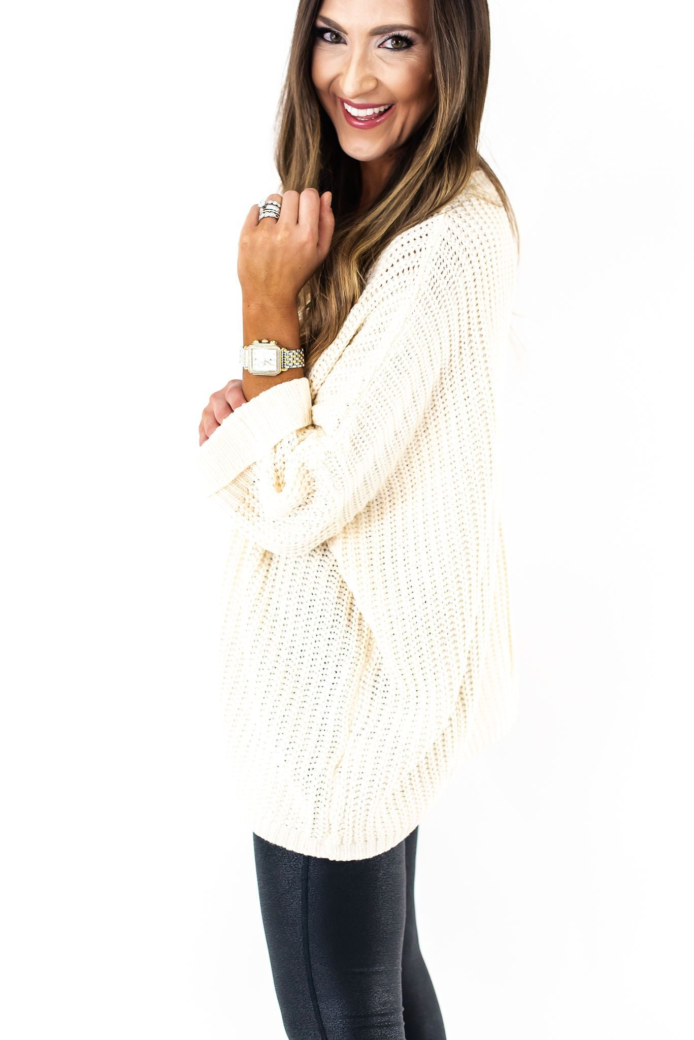 Ivory Chunky Knit Pullover Sweater w/ Pocket