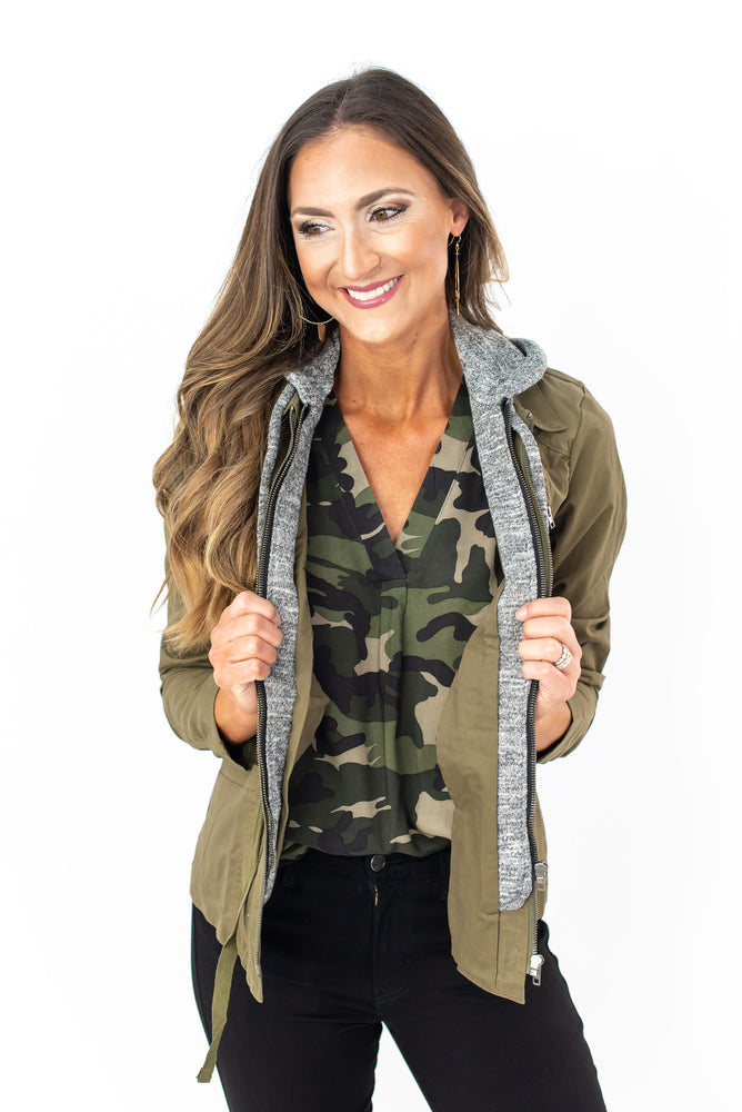 utility jacket, cargo vest, utility vest, fall layers, women's camo top, off the shoulder top, leggings, black leggings, athleisure, bomber jacket, windbreaker, mom style, track pants, cozy fleece, fall style, style your senses, graphic tee