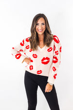 Lipstick Kiss V Neck Sweater