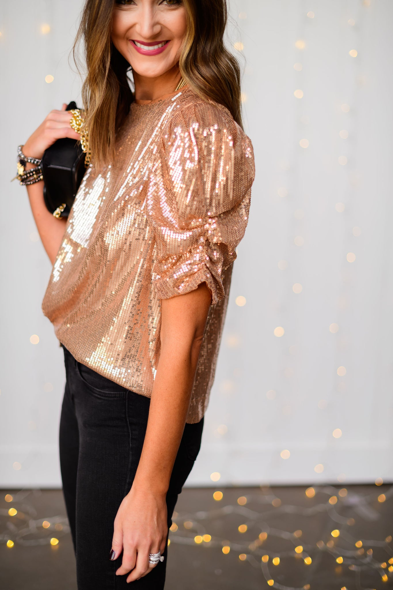 Rose Gold Sequin Puff Sleeve Top