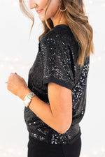 sequin tee, black sequin tee, holiday top, holiday outfit inspiration, style your senses, mallory fitzsimmons, shop style your senses
