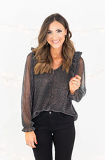 Black Metallic Sheer Sleeve Ruffle Top
