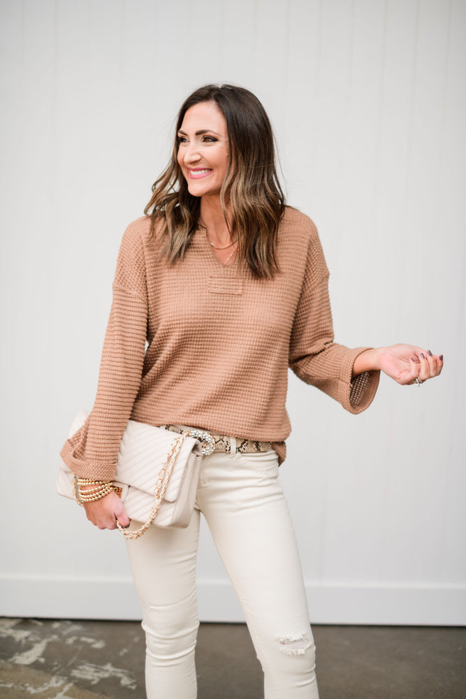 toffee waffle knit long sleeve top, beige distressed mid rise skinnies, gold bubble bracelets, scale print rhinestone belt, gold herringbone necklace, fresh start, January collection, spring outfits, shop style your senses by Mallory Fitzsimmons