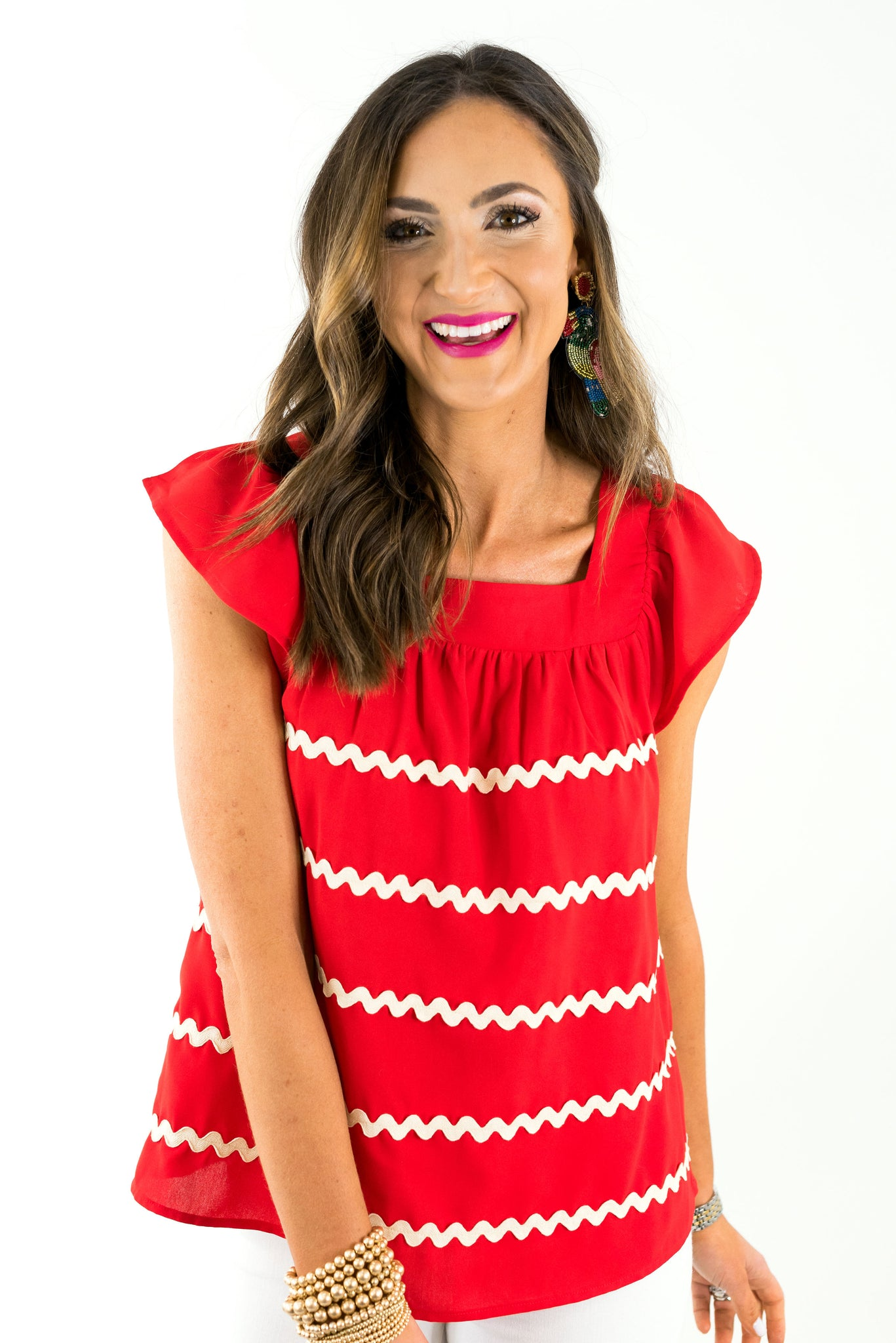 Red Short Sleeve Ric Rac Top