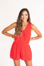 Red Scalloped Neck Romper