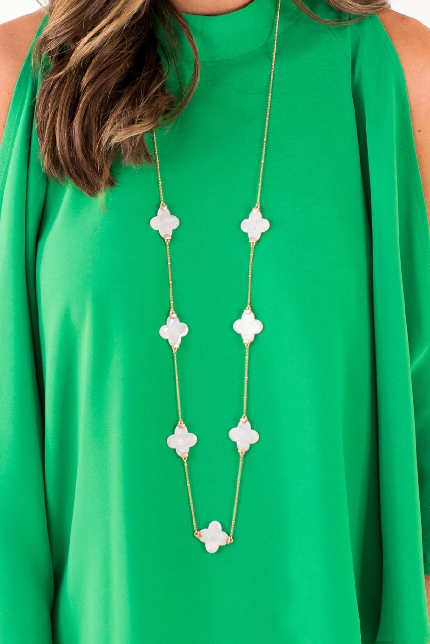 Ivory Quatrefoil and Gold Long Necklace