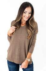 Mocha Super Soft Hi Low Tunic Sweater