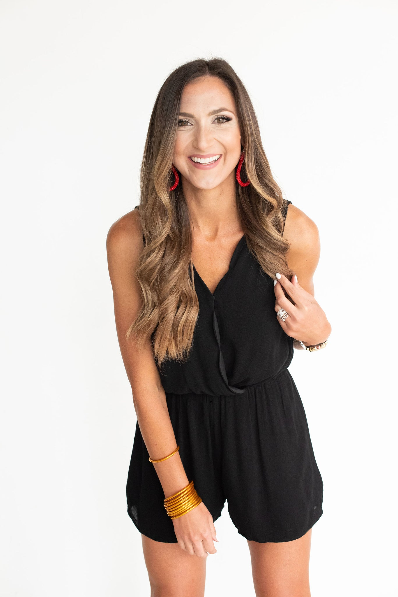 Black Scalloped Neck Romper