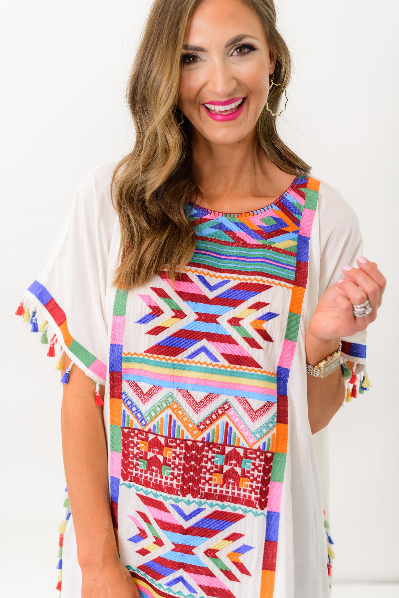 Ivory Embroidered Tunic w/ Tassels