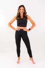 High Waisted Black Leggings w/ Side Pocket