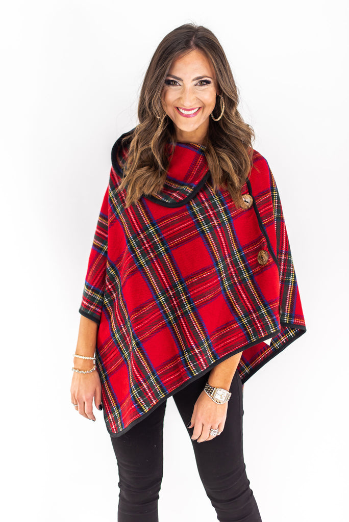 Tartan Print Poncho w/ Oversized Side Buttons