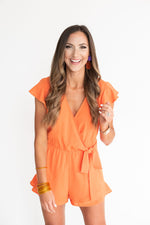 Orange Ruffle Sleeve Romper