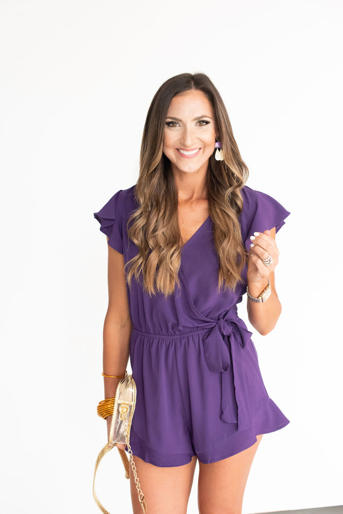Purple Ruffle Sleeve Romper