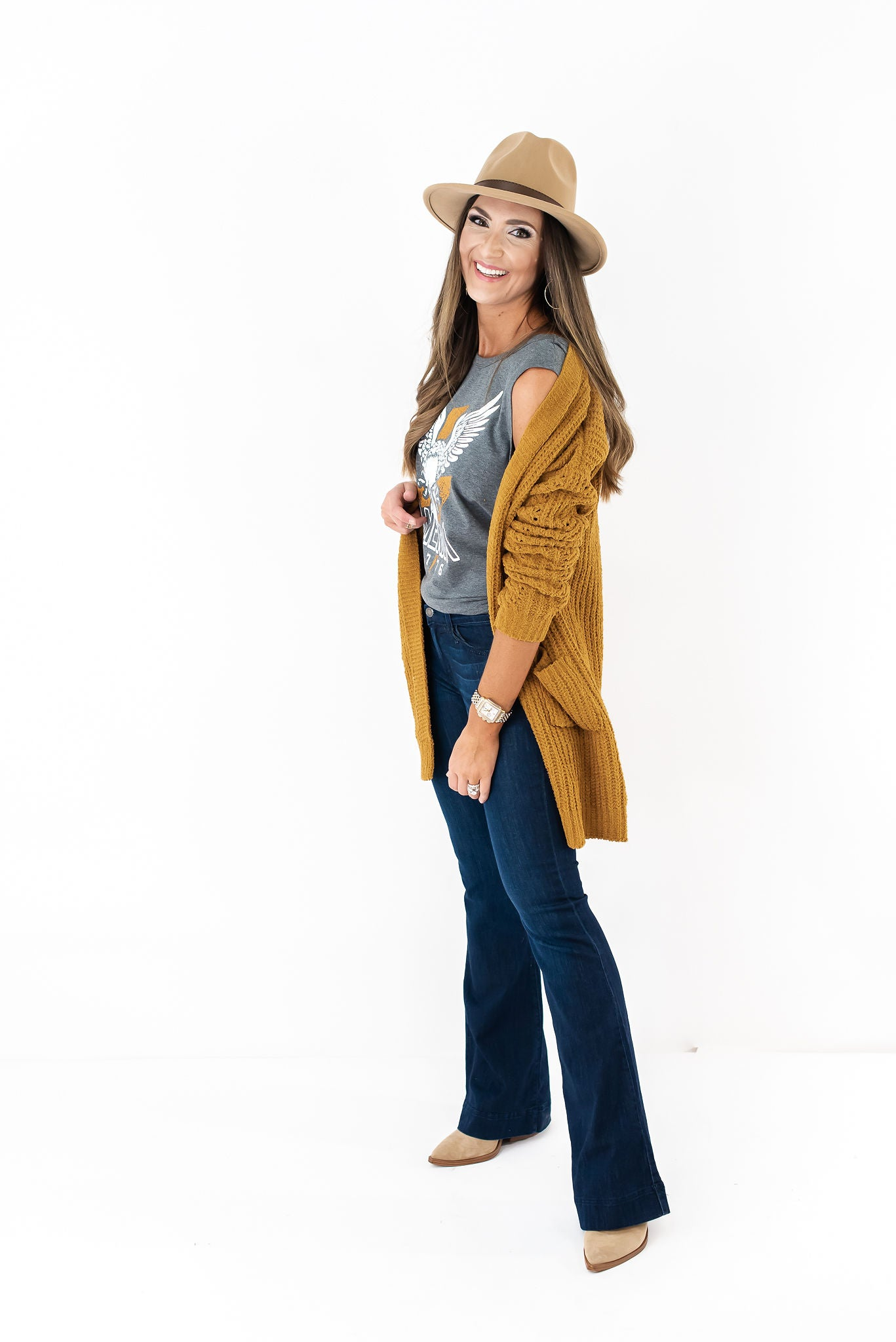 Gold Chenille Open Front Cardigan