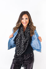 Grey and Black Animal Print Scarf