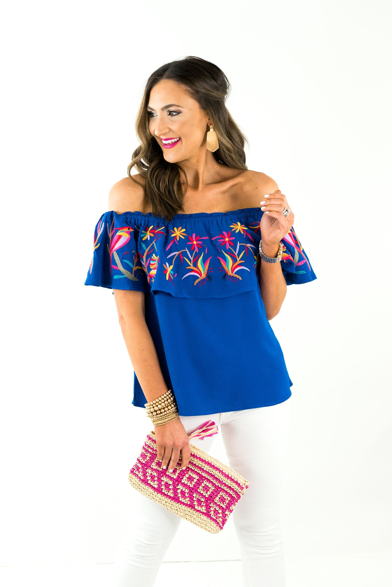 Royal Blue Off the Shoulder Embroidered Top