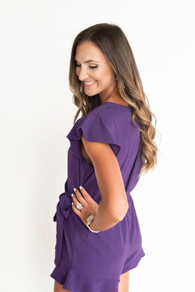 purple romper, purple game day romper, purple tailgate outfit, LSU romper, TCU romper, Kansas romper, college romper, style your senses, SEC, Big 12, Big Ten, LSU, Louisiana State, Kansas State, TCU, Texas Christian, Northwestern