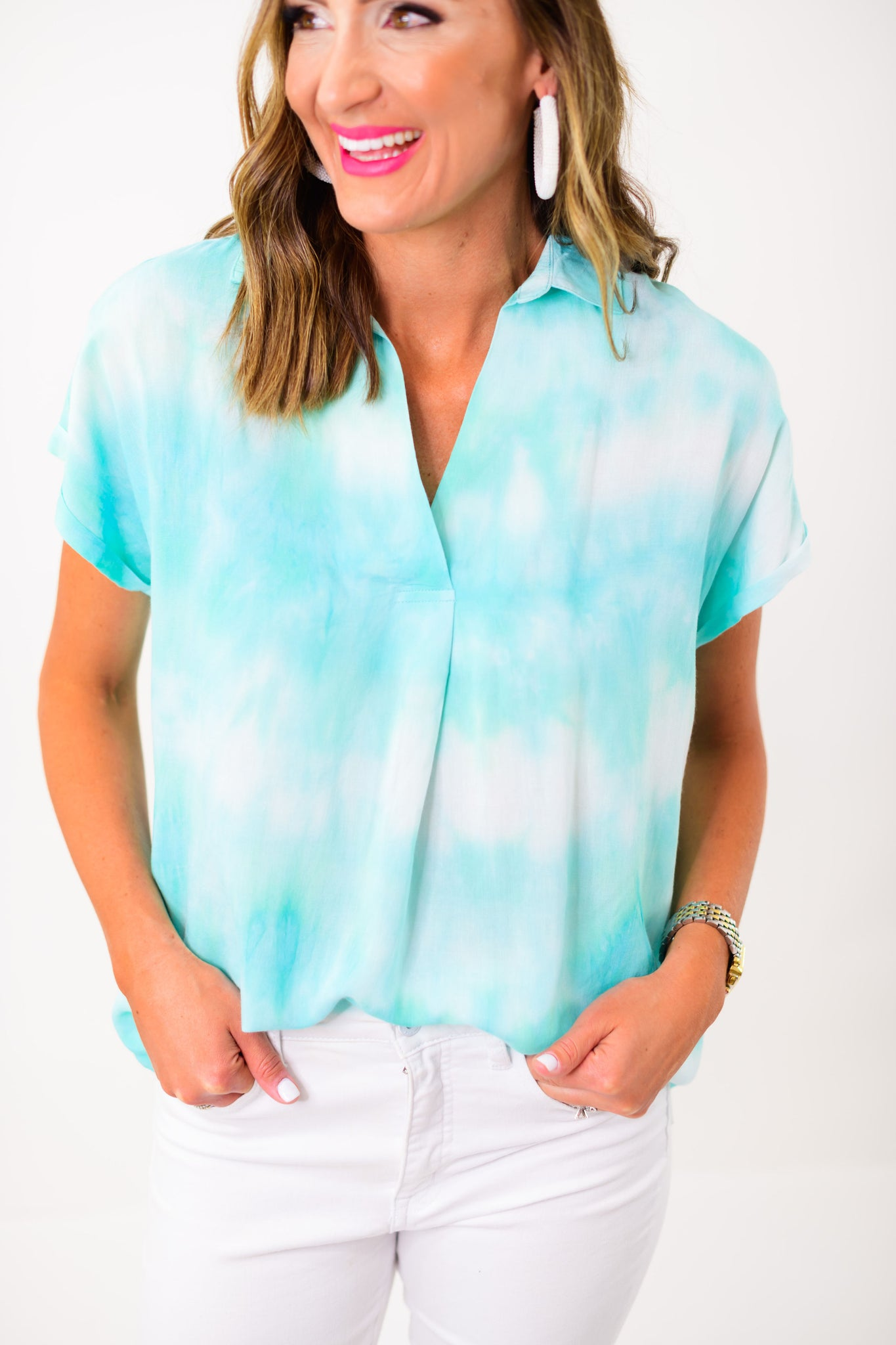 Mint Tie Dye Short Sleeve Collared Top