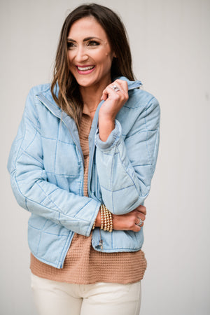 Light wash denim quilted jacket, beige distressed skinnies, toffee waffle knit top, gold bubble bracelets, fresh start, January collection, spring outfits, shop style your senses by Mallory Fitzsimmons