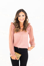 Blush Metallic Sheer Sleeve Ruffle Top