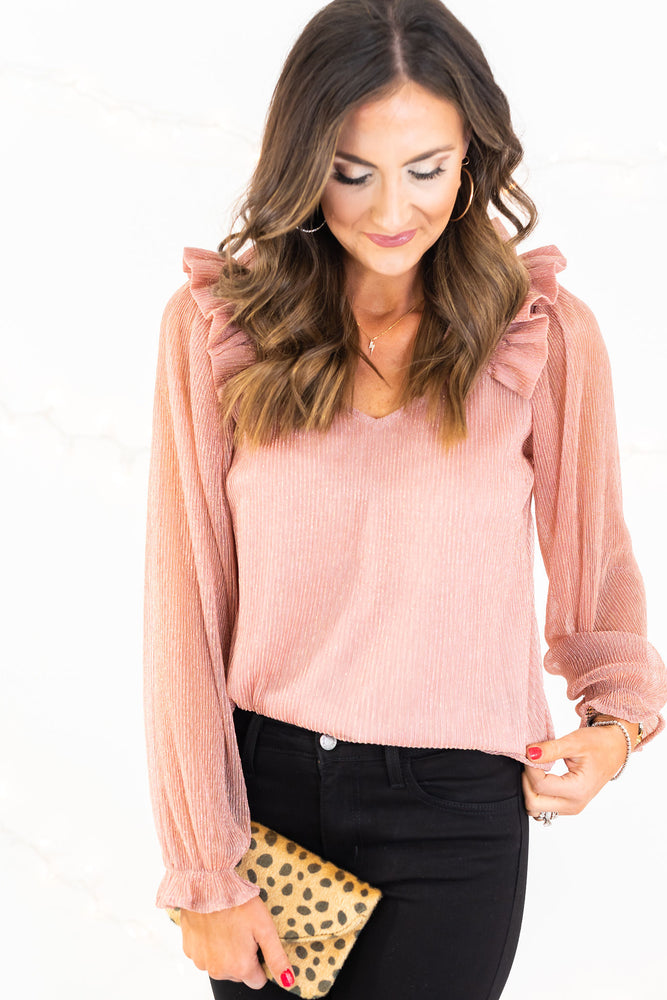 blush metallic blouse, holiday blouse, blush top, holiday outfit, leopard bag, mallory fitzsimmons, shop style your senses