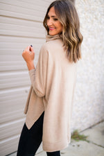 Taupe Cowl Neck Tunic Turtleneck
