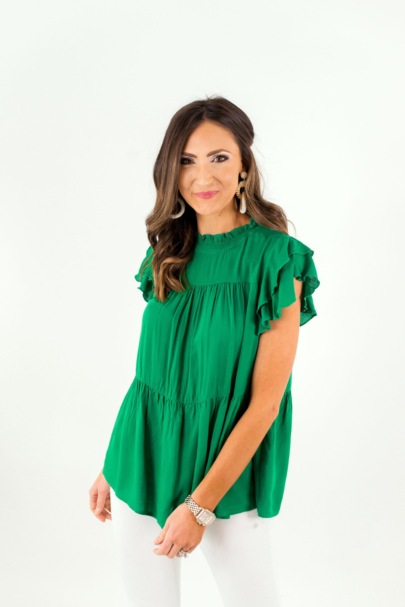 Green Ruffle Sleeve Peplum Top