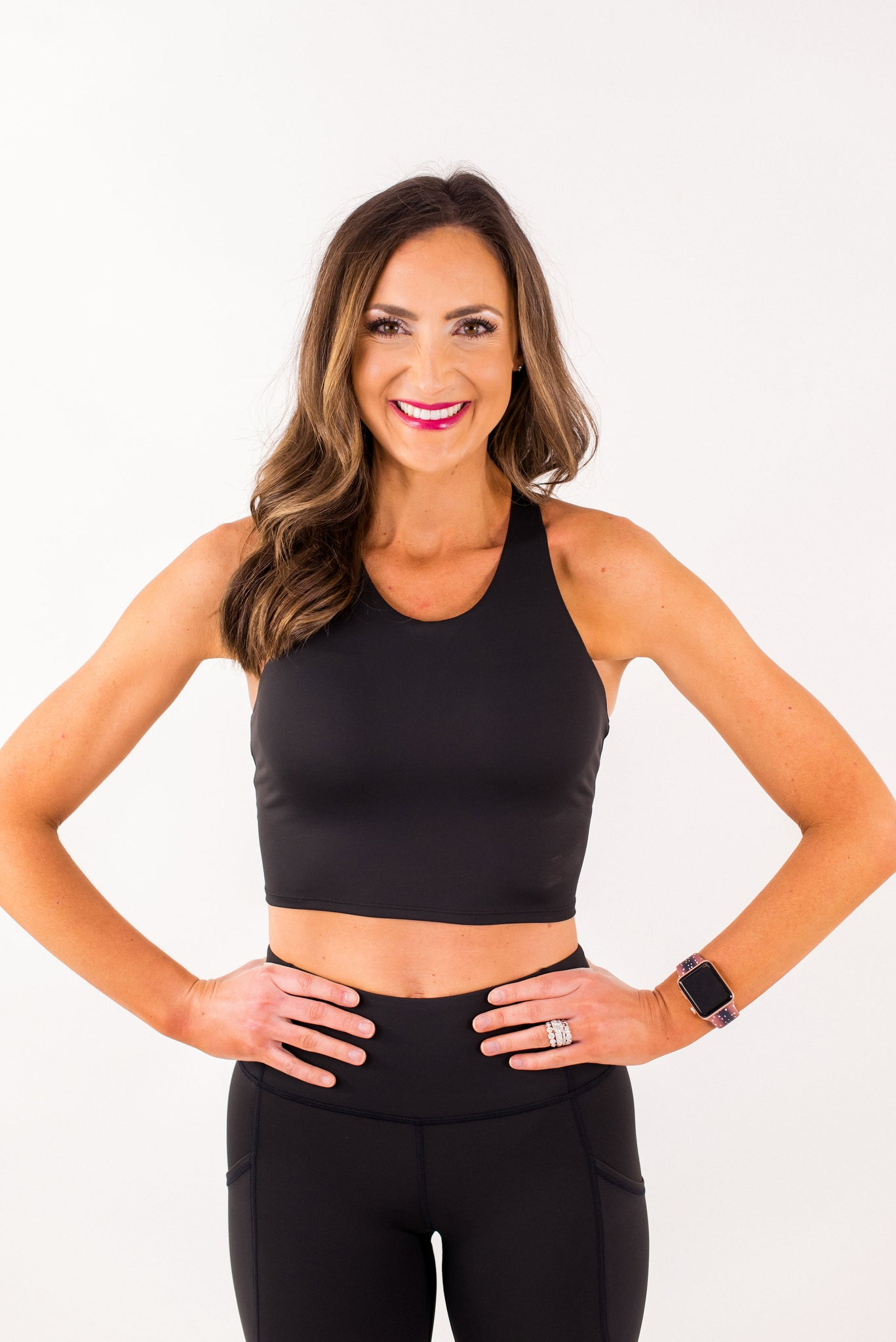 Black High Neck Racerback Crop Top