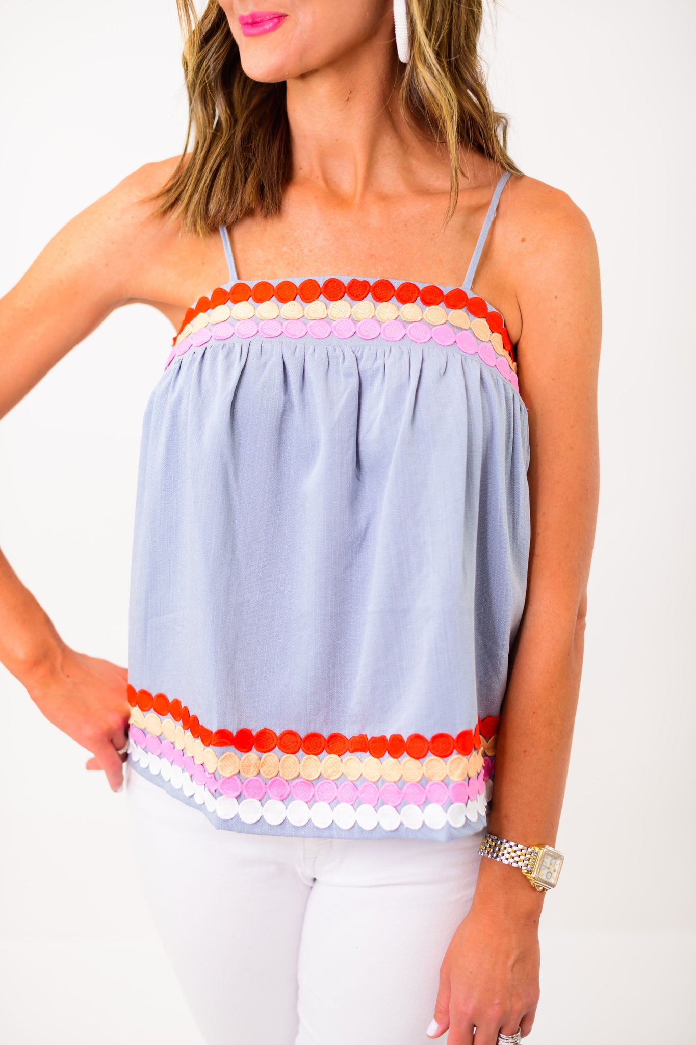 Light Blue Triple Dot Embroidered Strappy Top *FINAL SALE*