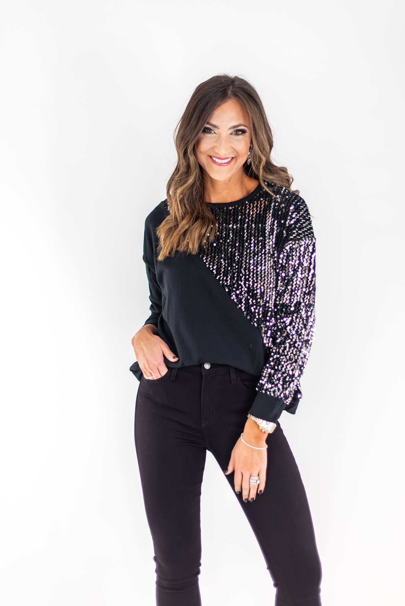 Black Long Sleeve Sequin Contrast Top