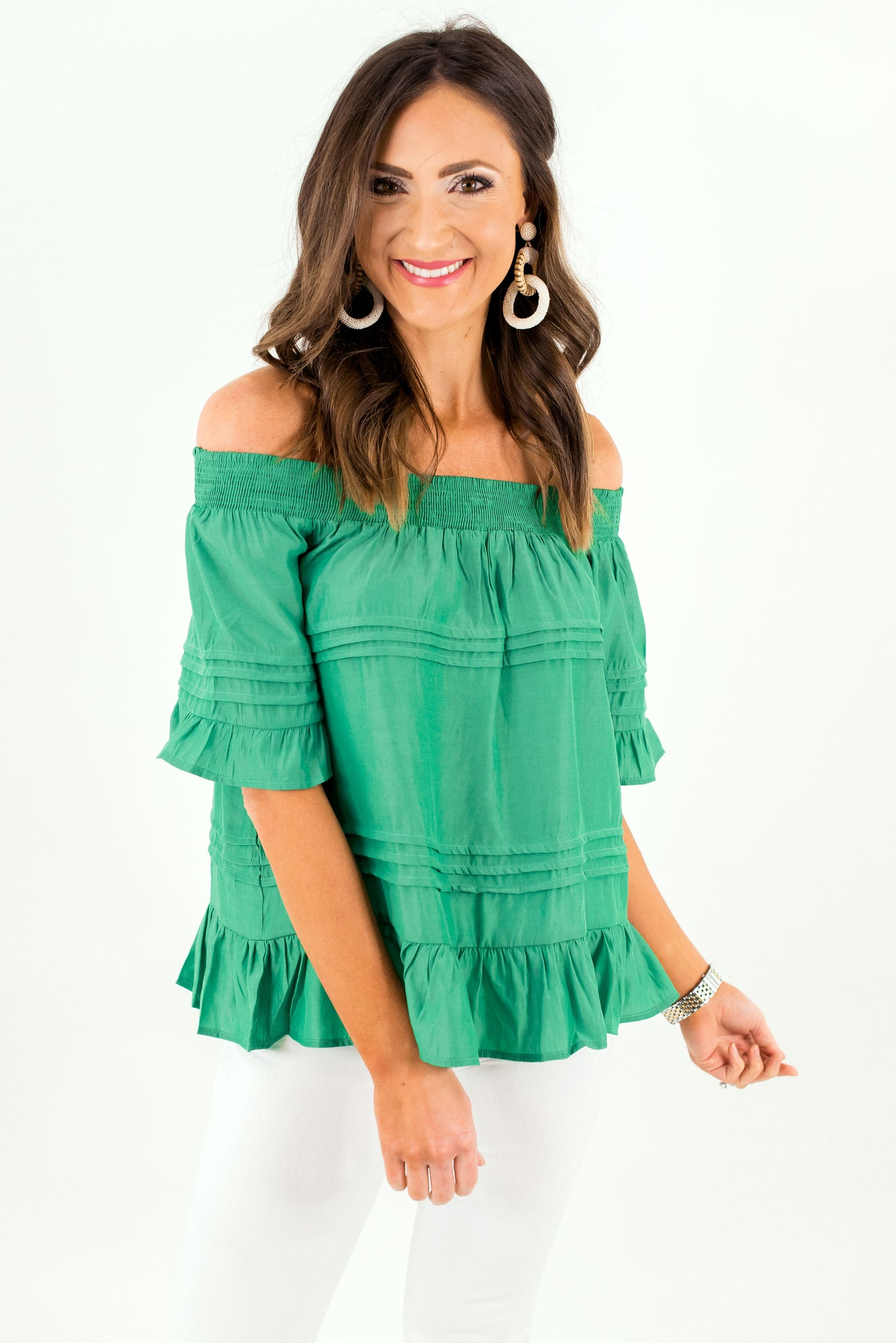 Kelly Green Off the Shoulder Top