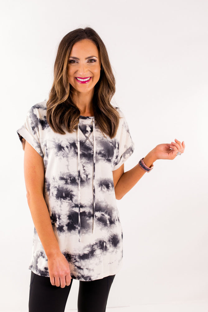 Tie Dye Short Sleeve Top w/ Hood