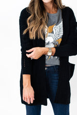 black cardigan, chenille cardigan, cozy cardigan, fall style, fall staple, fall outfit, graphic tee, style your senses