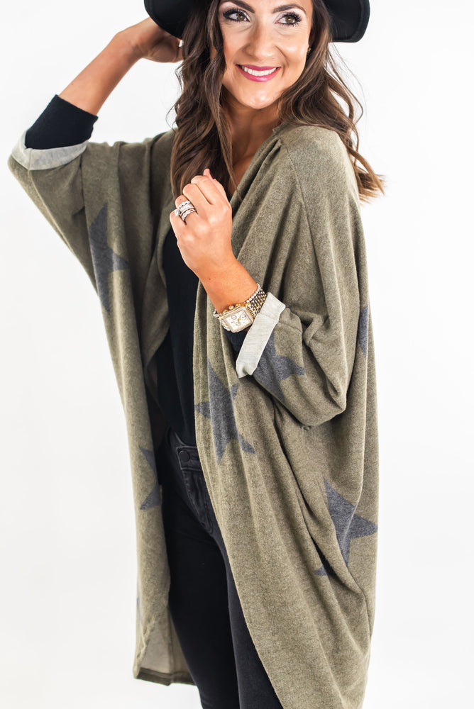 shop-style-your-senses-by-mallory-fitzsimmons-olive-star-print-cardigan-loungewear-cozy-fashion-layering-piece-affordable-trendy-clothing