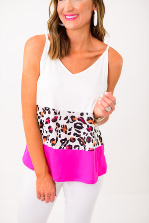 Pink Animal Print Colorblock Cami *FINAL SALE*