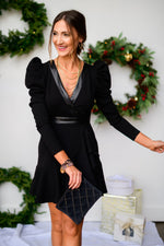 black-v-neck-puff-sleeve-faux-wrap-dress-with-ruffled-hemline-velvet clutch-layered-gold-necklace-glass-beaded-bracelets-holiday-launch-holiday-party-outfits-holiday-chic-black-crossbody-purse-shop-style-your-senses-by-mallory-fitzsimmons