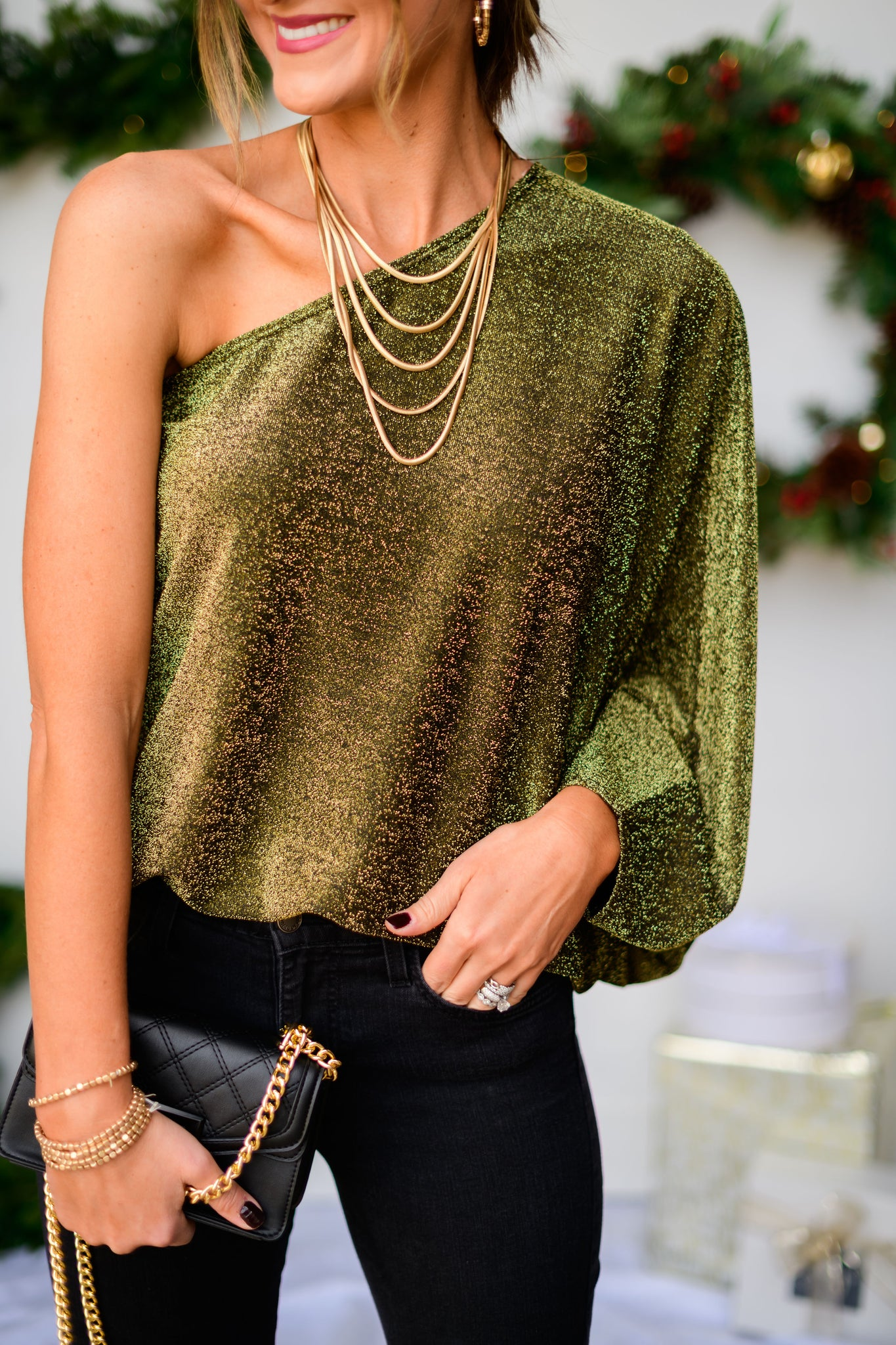 Black and Gold Metallic One Shoulder Top