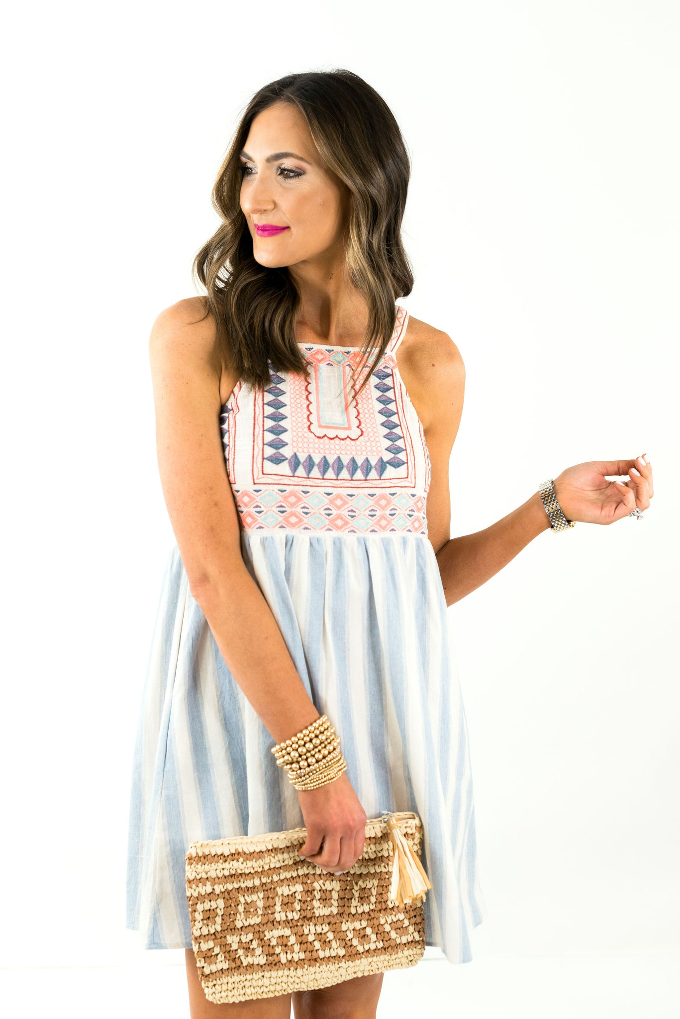 Striped Square Neck Dress w/ Embroidered Top