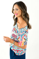 Otomi Print Off the Shoulder Top