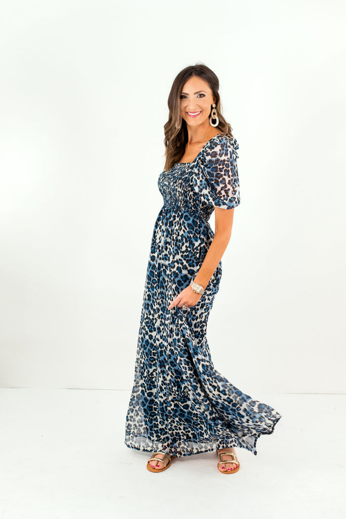 Blue Animal Print Maxi Dress