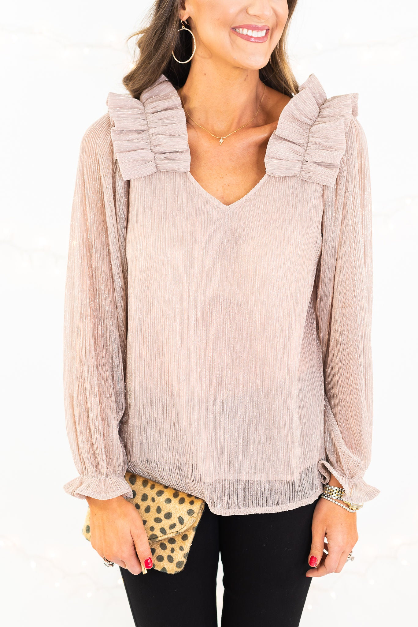 Champagne Metallic Sheer Sleeve Ruffle Top