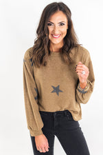 Taupe Star Print Cozy Top